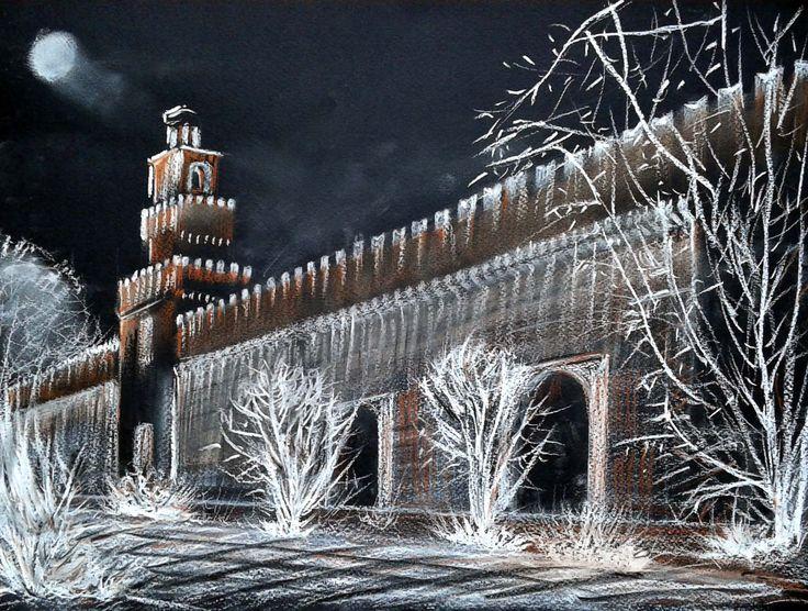 Castello Sforzesco di Milano, matita bianca  e sanguigna
