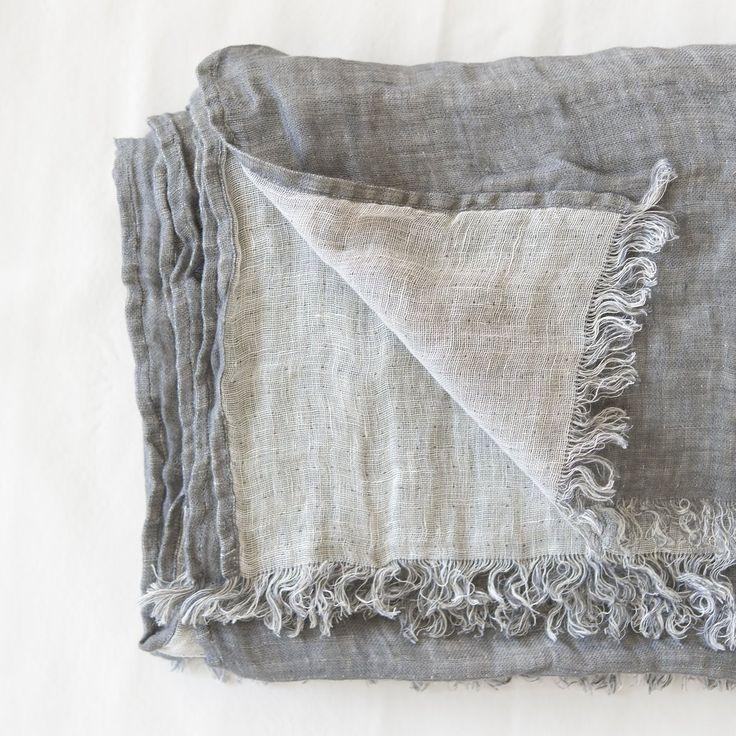 Washed Linen Blanket Grey / White