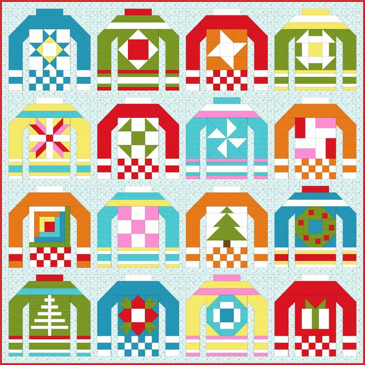 "Sew Fresh Quilts: The Ugly Christmas Sweaters Quilt Along 2016-Today's post is an introduction to the quilt along and provides a list of fabric requirements and cutting instructions. Each Christmas Sweater block finishes at 12"" square within each sweater block is a 6"" block. Beginning on February 1st, I will be sharing a tutorials for the 6"" blocks. This layout shown uses 16 blocks and will finish at approximately 53"" square"