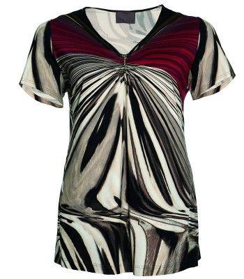 Damen Shirt Weinrot Beige kurzarm V-Ausschnitt Viskose von Sempre Piu