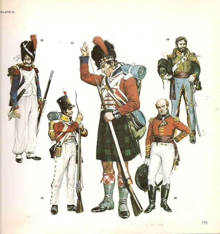 """Granatiere della fanteria di linea francese, Fuciliere del 42 rgt. fanteria """"Highlanders"""" inglese, ufficialke della """"Royal Artillery"""" inglese, caporale della compagnia del centro del 57 rgt. fanteria di linea inglese e William C. Beresford tenente generale inglese"""