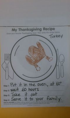 Adventures in Kindergarten: thanksgiving cookbook, no PDF available. Good idea to try and make on my own.