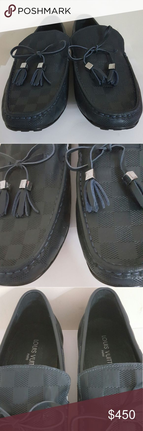 Louis Vuitton Men's Navy Damier Moccasins Louis Vuitton Men's Navy Damier Moccasins   LV stamped UK size 44  New in Box  MSRP $650  Navy Leather  Damier Pattern  Classic stitch   Non- slip soles  Leather insoles  Stamped serial no.  Made in Italy  Navy color  Comes with dust bag and box Louis Vuitton Shoes Loafers & Slip-Ons