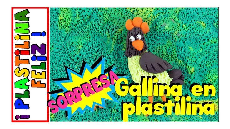 gallina en plastilina, gallina de plastilina, animales fáciles de la granja en plastilina.
