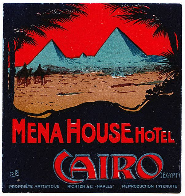 Vintage mena house hotel cairo egypt luggage label