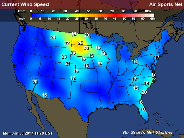 Wind Speed Map For The United States