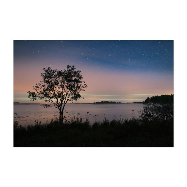 Noir Gallery Northern Lights Finland Lake Unframed Art Print/Poster (48 x 72), Blue
