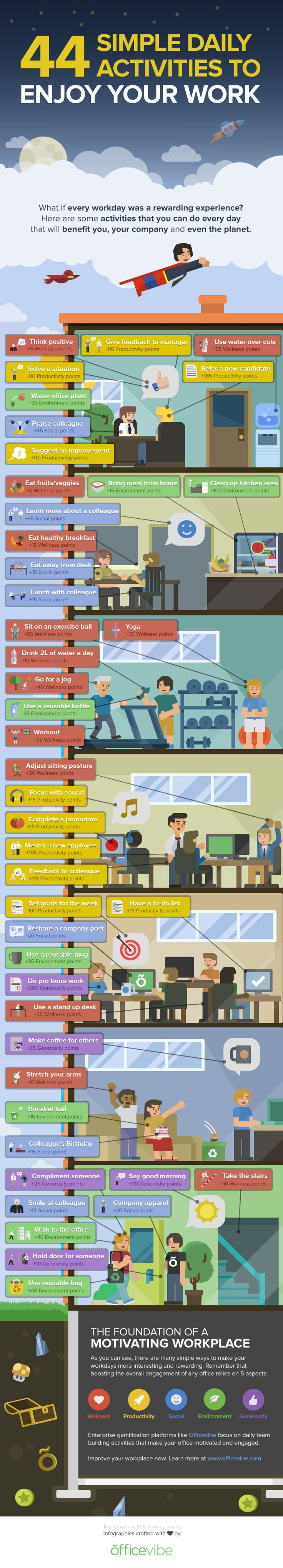 44 Simple Daily Activities To Enjoy Your Work #Infographic