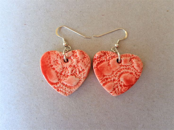 Red heart ceramic and sterling silver earrings, lace loveheart textured pottery dangling earhooks pierced ears, Mother's day jewelry by MonikaWithaKCeramics on Etsy