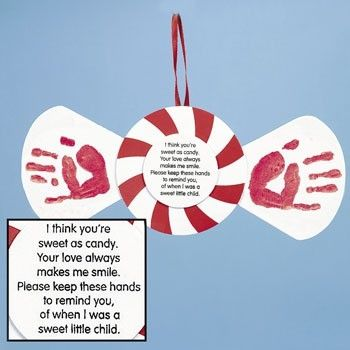Handprint Peppermint Craft by connie  Could also be done for Valentine's Day, Sweetest Day or another candy/sweet-related occasion.