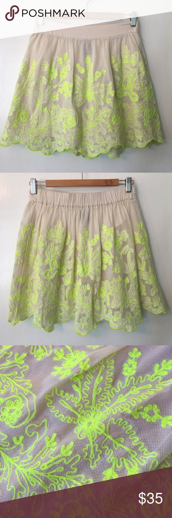 "Neon Yellow & Cream Floral Embroidery Mini Skirt Fun and flirty embroidered mini skirt!  Like New! Size 4- Measurements taken flat- Waist- 14"", Hips- 22"", Length- 17"". Vanessa Virginia Skirts Mini"