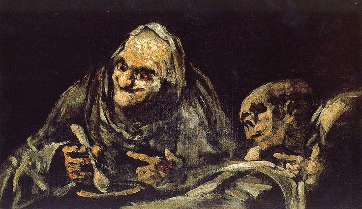 Dos Ancianos Que Comen Una sopa de Francisco de Goya
