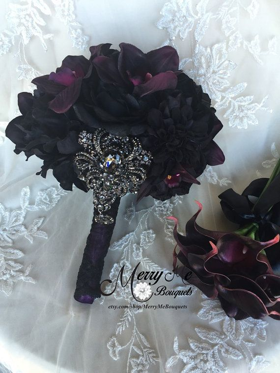 Black Bouquet Black Silk Bouquet Purple and by MerryMeBouquets