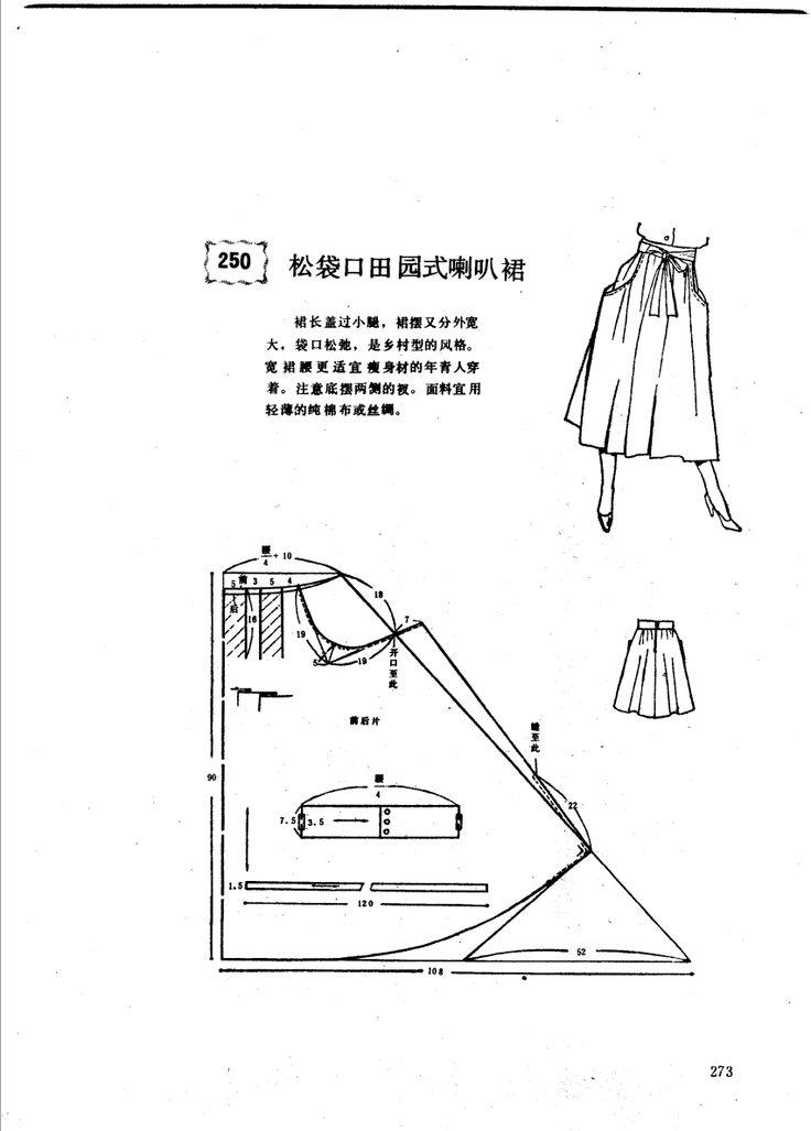 Large pocket skirt. Shows drafting for best 'loose' pocket size.
