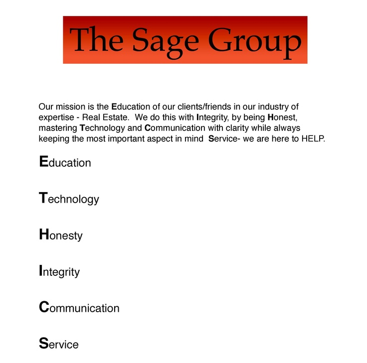 TSS Realty and The Sage Group real estate Mission Statement