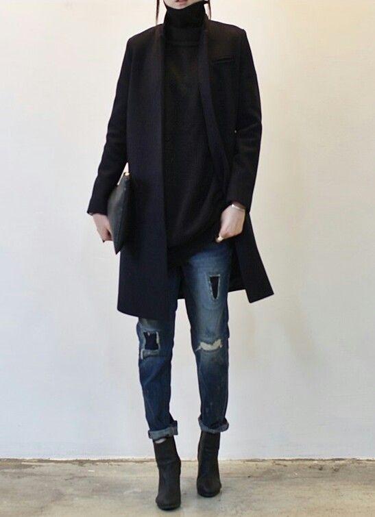 Black turtleneck! dark coat, turtleneck and ripped jeans