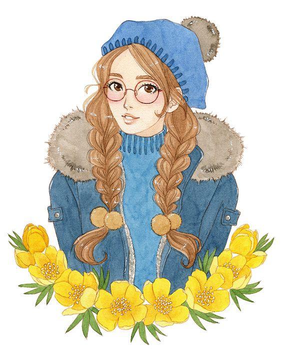Manga illustration winter girl Christmas decor manga by milkyink