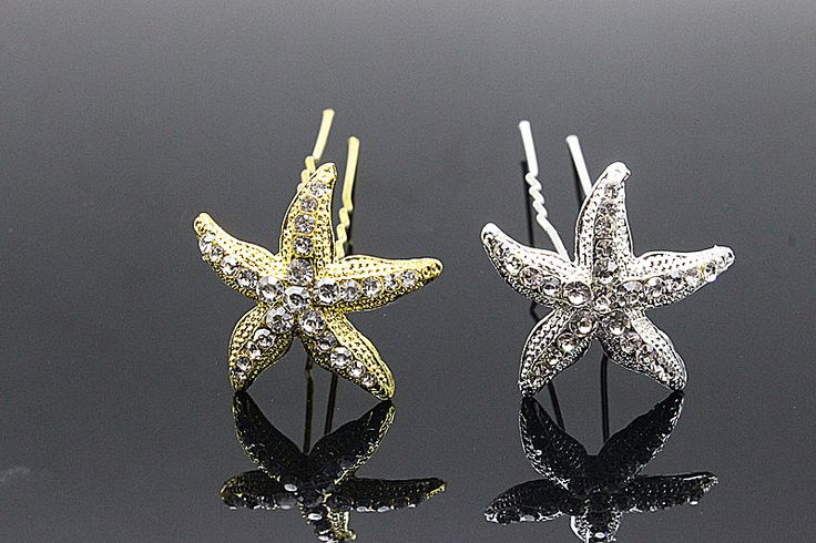 6pcs Fashion Rhinestone Hairpin Brides Tiara Starfish Hair Pins Clip Crystal Comb  Bridesmaid Hair Jewelry Accessories H-306