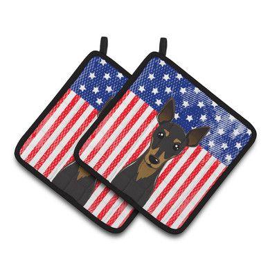Caroline's Treasures American Flag and Min Pin Potholder
