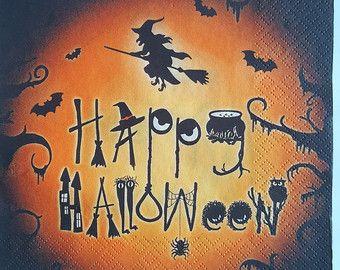 4 x singolo tovaglioli, decorazione di Halloween, Happy Halloween, tecnica del decoupage, arte, artigianato, forniture di carta, 33 x 33 cm, 3 pieghe, rottami, nuovo