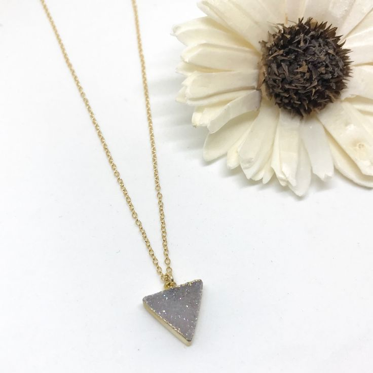 "Triangle druzy necklace. A tiny bit of sparkle to add to your collection. Titanium plated druzy pendant. 14kt gold fill chain and findings. Finished length: 16"" Available in a 1/2"" size and 3/8"" pendant."