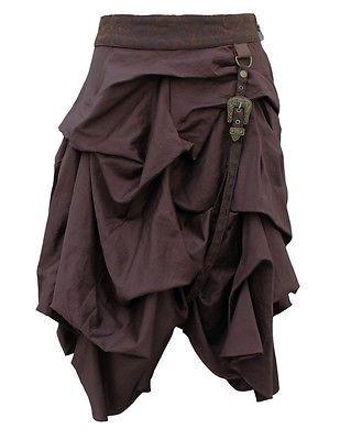 Geraffter Steampunk Rock mit Riemen Braun  Mittelalter Larp Vintage Skirt dress in Kleidung & Accessoires, Damenmode, Röcke | eBay!