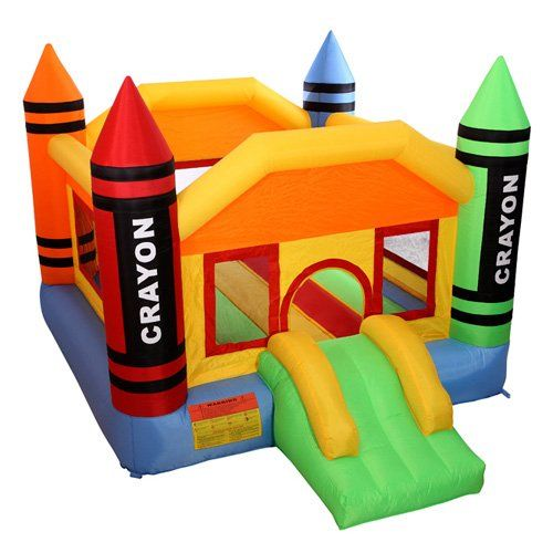 Cloud 9 Mini Crayon Bounce House - Inflatable Bouncing Jumper with Blower. A gift idea - toys for 6 year old boys