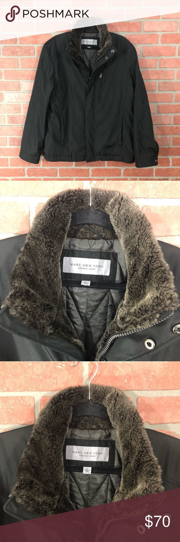 Marc New York Jacket - Andrew Marc Beautiful  Marc New York - Andrew Marc  Faux Fur Lined  Men's Size L  Shell: 100% polyester  Body: 50% Nylon 50% Acetate  Sleeve Lining: 100% polyester  Faux Fur Trim Andrew Marc Jackets & Coats