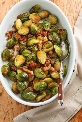 Pan-Roasted Brussels Sprouts with Chestnuts, Shallots & Bacon. I want ...