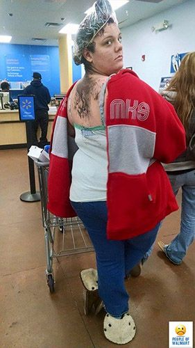 people of walmart...wtf is wrong with this bitch...HAIR COLOR ????  How long does she leave it on??????