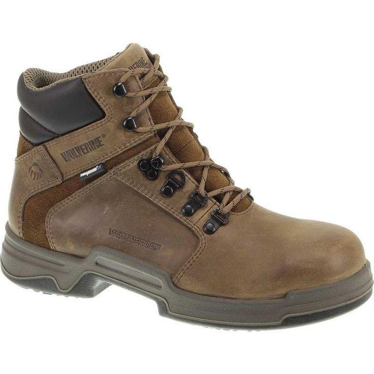 "Wolverine Men's Griffin 6"" Waterproof DuraShocks Steel Toe Work Boots, Size: 8.5 WIDE, Brown"