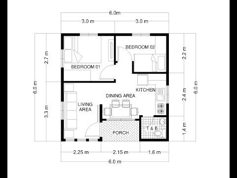 Small House Design 6x6 Meters 36 Sqm 20x20 Feet 400 Sqft Youtube Small House Design Plans Minimalist House Design Small House Map