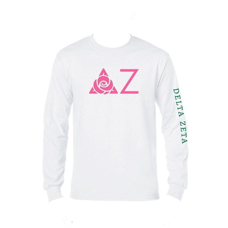 Delta Zeta Long Sleeve Shirt . DZ Greek Letters + Sorority Name Down Arm
