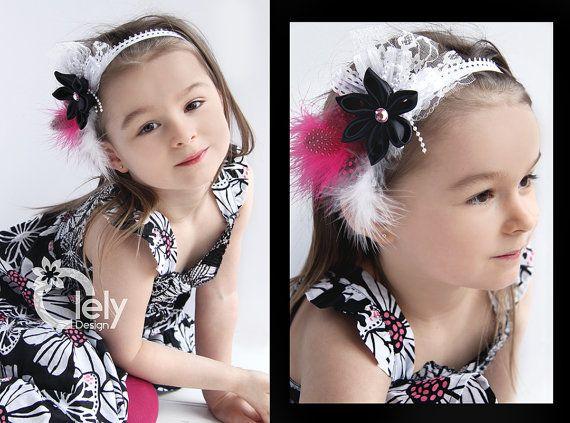 Baby headband pink black satin flower lace headband by OlelyDesign