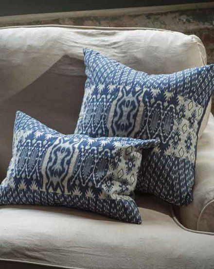 Patchwork Ikat Pillow with Kantha Stitch
