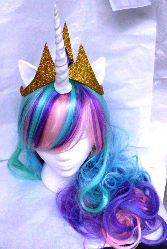 Fancy Kid Girls Unicorn Horn Hair Wig Pony Headband Cosplay Party Costume