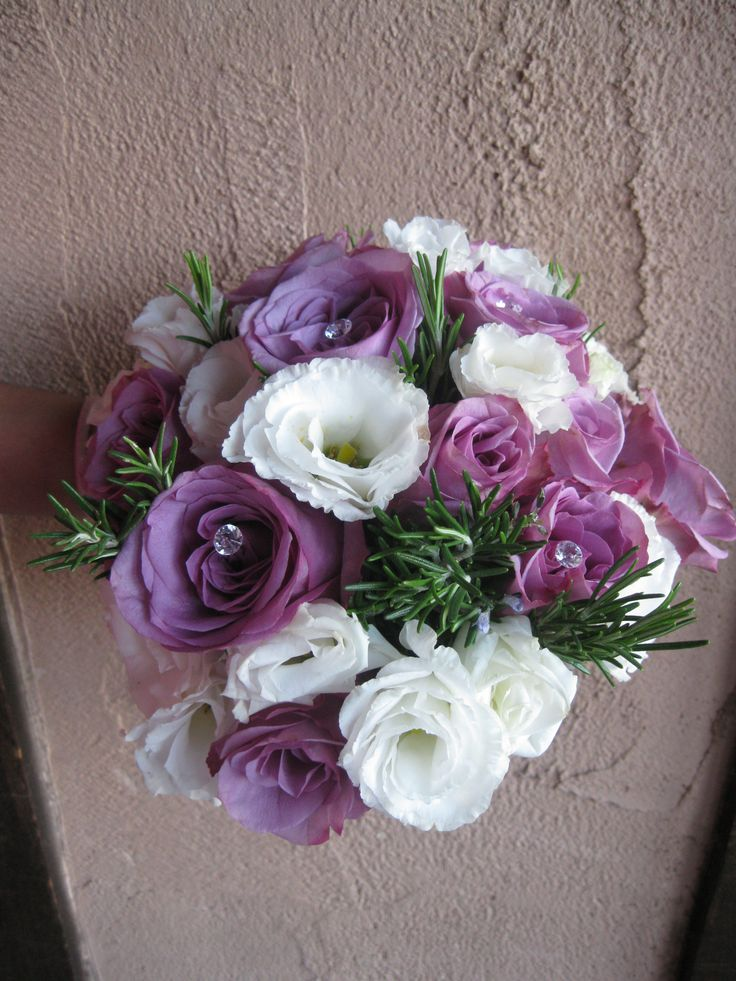 Memory Lane rose, white lisianthus and rosemary hand tied bouquet