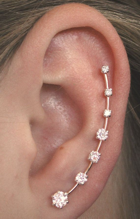 Long CZ Ear Pin Pair  Gold Filled or Sterling by ChapmanJewelry, $120.00