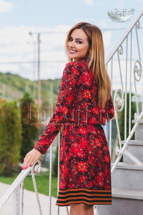 Rochie midi rosie cu imprimeu si bordura