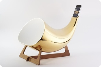 Gold megaphone iphone amplifier Use a bull horn instead