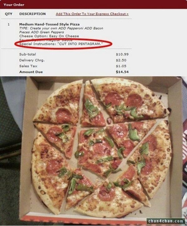 """Special Instructions"" for pizza delivery"