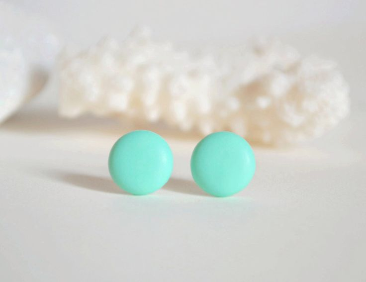 A personal favorite from my Etsy shop https://www.etsy.com/listing/276423926/minimal-earrings-round-mint-earrings-for