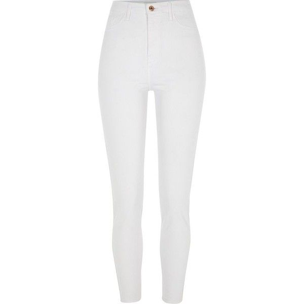 River Island White Harper high waisted super skinny jeans (€66) ❤ liked on Polyvore featuring jeans, pants, bottoms, skinny jeans, white, women, white denim jeans, tall skinny jeans, high-waisted jeans and white jeans