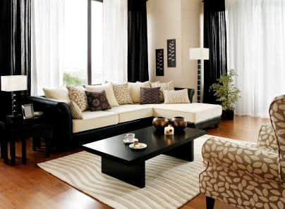 black, white and tan contemporary style living room