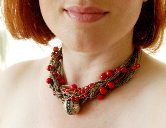 Red Silver Natural Linen Necklace Oxidized by BeadedCoffeeTree, $32.50