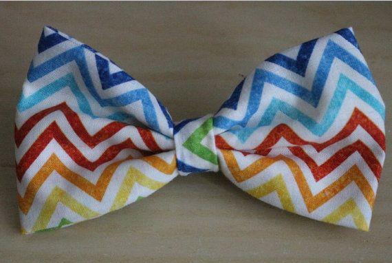 Handmade Rainbow Chevron Hair Bow!
