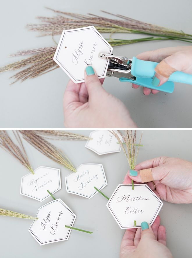 These DIY Seating & Escort Cards Are Embellished With GRASS!