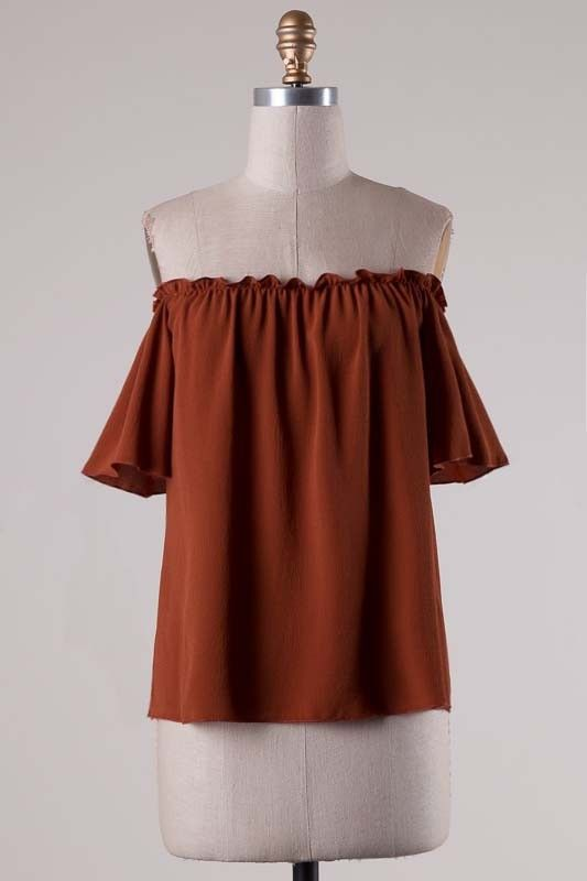 Burnt Orange Ruffle Trim Off the Shoulder Top - Longhorn Fashions