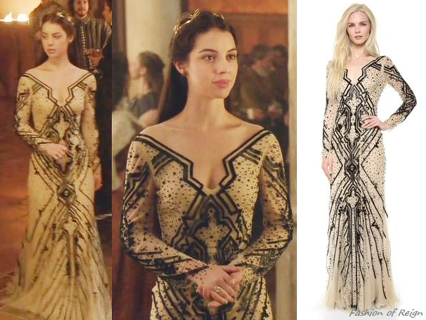 "In the episode 2x03 (""Coronation"") Queen Mary wears this sold out Monique Lhuillier Beaded Tulle Gown. Worn with Gillian Steinhardt labyrinth and signet rings, Pamela Love earrings."