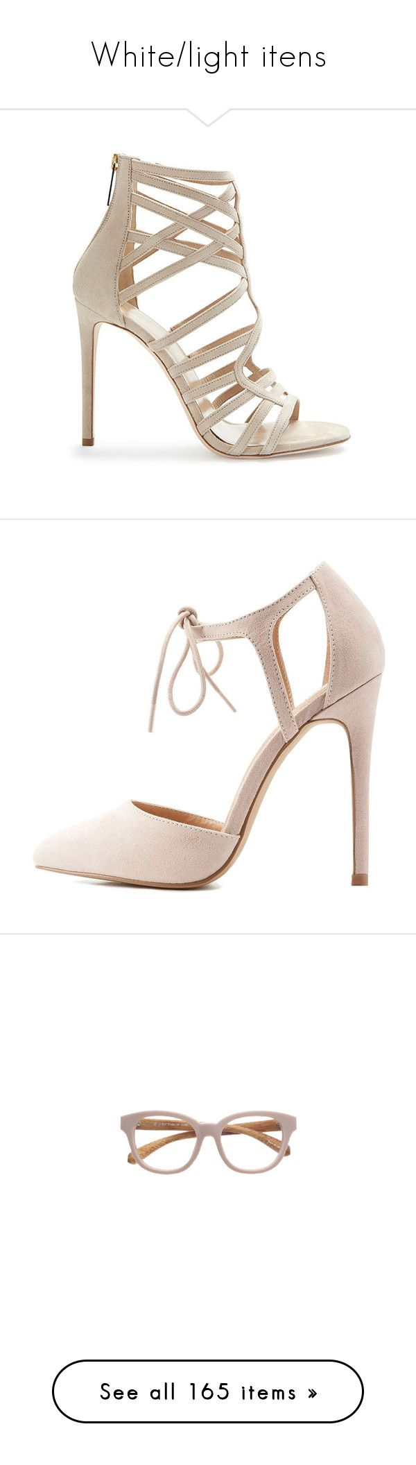 """White/light itens"" by malugr ❤ liked on Polyvore featuring shoes, sandals, heels, sapatos, apparel & accessories, nude suede shoes, multi coloured sandals, heeled sandals, strap heel sandals and nude heel sandals"